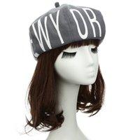 Wholesale Painter Acrylic - 2016 Spring New Fashion Women Beret Hat Letter Print Round Crown Painter Caps Casual Hat Beret Cap Headwear High Quality