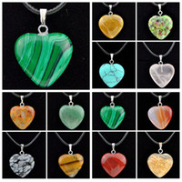 Wholesale heart shaped agate stone resale online - Girl Women s mm Natural Turquoise Agate Tiger s Eye Opal Stone Heart shaped Pendants Necklace MN484