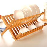 bambu kurutucu toptan satış-Doğal Bambu Katlanır Çanak Kurutma Raf Sofra Takımı Tutucu Plaka Depolama Tutucu Plaka Ahşap Sofra Takımı Bulaşıklık Mutfak Aksesuarları
