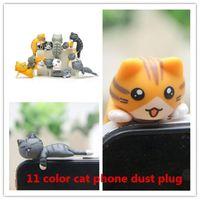 Wholesale Plugy Cat - Universal 3.5mm earphone jack Anti Dust Plugy 3D phone dust cap earphone jack cat cell phone ear caps zpg288