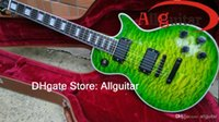 Barato Costume Do Emg-Custom Shop Green Guitar Ebony fretboard EMG Active Pickups Black Hardware Grande guitarra