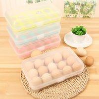 Wholesale Plastic Egg Packaging - Plastic Egg Refrigerator Storage Box Portable Outdoor Picnic 15 Boxes of Plastic Egg Boxes Packaging Kitchen Supplies