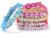 Wholesale Personalized Xs Rhinestone Dog Collars - 15% off high quality Personalized adjustable pu Leather pet Dog Collar Rhinestone Customized dog accessories XS S M L 15pcs drop shipping