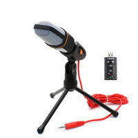 Wholesale Karaoke Laptop Microphone - New Condenser Microphone Professional Sound Podcast Studio Microphones for computer PC phone Laptop Skype MSN Karaoke + PC stent