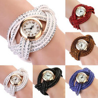 Wholesale-Women's Vintage Rhinestone Weave Wrap Multilayer Leather Bracelet Montre bracelet 1N3S