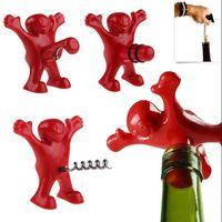Wholesale Soda Stopper - Red Soda Wine Bottle Novelty Opener Stopper Corkscrews Bar Red Happy Man Bottle Opener Bar Tools OOA3615