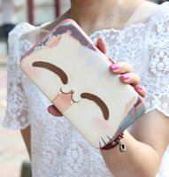 Wholesale Lovely Lunch Bags - Lady Handbag Series Lovely big face cat hand-painted bag carry mobile phone bag lunch box package lady handbag long wallet