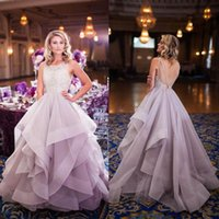 Wholesale Celebrity Wedding Ball Gowns - Luxury New Celebrity Ball Gown Wedding Dresses Scoop Neck Sleeveless Beading Lace Tulle Ruched Backless Ball Gown Bridal Dresses