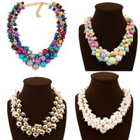 Wholesale Cheap Beads Pearls Necklaces - fashion jewelry Cheap Wholesale Gift Jewelry Chunky Bead Necklace For Girls Beautiful girl necklace 100% handmade