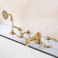 Wholesale 2015 Patent Design Luxurious Solid Brass Roman Tub Trim Filler hole Bath Shower Mixer Tap with hand shower