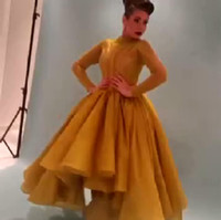 Wholesale Gold Line Prom Dresses - 2015 New Arrival Gold Celebrity Dress Myriam Fares A line Long Sleeve Stunning Evening Gown Prom Dress Ruffle Teal Length Party Dresses
