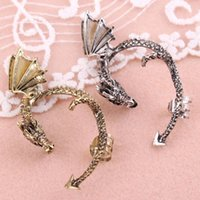 1Pc Gothic Punk Rock Tentação Clip On Brincos Metal Curve Dragon Stud Ear Punho Pendente # 21543