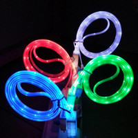 Wholesale galaxy s4 flash - Visible LED Light USB Cable 1M 3FT Flat Noodle Flashing Lighting Cables Charger Cords for Samsung Galaxy S4 S6 S7 Note 4 5 6 7 HTC Phones