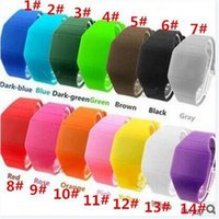 Wholesale Screen Color Squares - 400pcs best price hot sale 14 color feeling screen watches Soft Led Touch watch Jelly Candy silicone digital D580