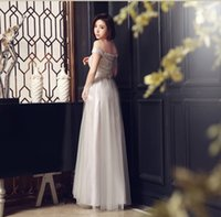 Wholesale Evening Bling Top - Hot Sale 2015 Sexy Evening Dresses with Short Sleeve Bateau Top Lace Party Gown for Women Bling Beaded A Line Tulle JE190
