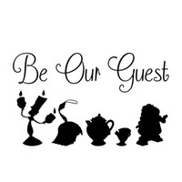 Wholesale classic car windshield - 13.5*8CM BEAUTY AND THE BEAST BE OUR GUEST Interesting Fashion Personality Creative Classic Car-styling Motorcycle Car Sticker