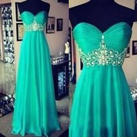 Wholesale Cheap Teal Evening Dress - Cheap High Quality Chiffon Beaded Strapless Long Evening Dress Teal Blue Crystals Sweetheart Sleeveless Floor Length Prom Gowns Custom Made