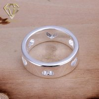 Wholesale Hollow Out Couple Ring - Wedding Rings New Fashion Silver-Plated Multi Hollow Out Heart Thumb Ring Fashion Jewelry for Girlfriends Couples Wholesale
