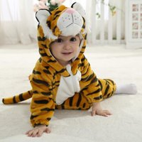 Wholesale Duck Outfits - 4 New styles Toddler Baby Rompers ladybug tiger duck frog modeling Animal Jumpsuit Autumn Winter Outfits Infant Hooded Single Flannel romper