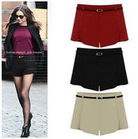 Wholesale Wool Shorts Plus Size - Chic petals A-line high waist shorts wool shorts winter autumn ladies shorts with a belt plus size S M L XL 2XL