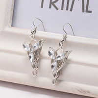 Wholesale Lord Rings Cosplay - Arwen Evenstar Lady Hook Leaf Silver Earrings Lord of The Rings Movie Elven Princess Cosplay Gifts