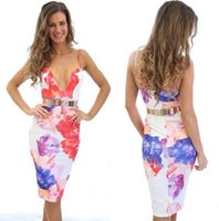 Wholesale Summer S Eve - Nice Promotion Hot Sale Natural Bandage Dress Women Sexy strapless Bodycon Stretch Floral Dress Cami Open Back Plunge Pencil Eve Party
