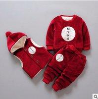 Wholesale Set Velvet Baby Boy - Baby girls boys pleuche three piece winter toddler velvet thicken casual outfits kids sweatshirt+pompon hooded vest+pants 3pcs sets R1077