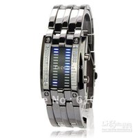 Wholesale Led Matrix Watches - Wholesale - 28 LED Super Blue Light Square Dial Matrix Stainless Steel Wristwatch watch - Grey ,