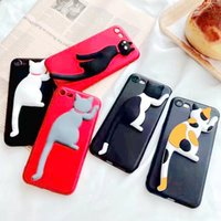 Wholesale Black Cat Iphone Case - Cute 3D Lazy Cat Case Funny Cat Tail Holder Phone case for iPhone8 7 6 Cover Soft TPU