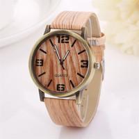 Wholesale Glass Grains - Superior New Wood Grain Watches Fashion Quartz Watch Wristwatch Gift for Women July8 zh3