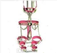 tube de soutien-gorge masculin achat en gros de-2016 Métal BDSM Mâle en acier inoxydable T dispositifs de chasteté Ceinture + collier + menottes + poignets de cuisse + poignets de cheville + plug anal + tube de cathéter + soutien-gorge