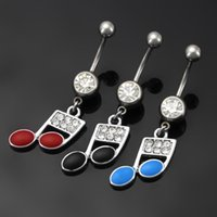 Wholesale Musical Bells Ringing - Stainless Steel Rhinstones Musical Symbols Belly Button Rings Navel Ring Body Piercing Jewelry 3 Colors for choices