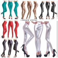 pantalones elásticos de piel sintética de talla grande al por mayor-FG1509 más el tamaño 2015 Nuevas faldas atractivas del cuero del Faux estiramiento de las mujeres de la cintura de las polainas de los pantalones flacos de los jóvenes de los pantalones adelgazan Legging