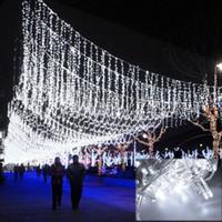 weihnachten twinkle vorhang led lichter großhandel-Weiß 50 Mt 300 LED Dekoratives Licht Hochzeit Fee Weihnachtsfeier Funkeln Lichterketten Vorhang 220 v EU Außendekoration P352