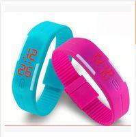 reloj de goma resistente al agua pantalla táctil al por mayor-2016 Colorido Impermeable Suave Led Reloj Touch Jelly Candy Silicone Rubber Pantalla Digital Relojes Hombres Mujeres Unisex Reloj Deportivo