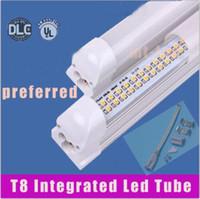Wholesale Led Tube Lights Base - X25+ LED tube light 8ft ( tube+base all-in-one ) integrated lamp SMD 2835 2.4m 2400mm 8 feet AC85-265V 6500lm 65W led tube lamps+ce ul