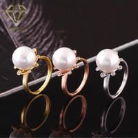 Wholesale Handmade Pearl Rings - Pearl Rings New Design Handmade Sunflower with Big Simulated Pearl 18K Rose White Gold Plated Rings Romantic Jewelry for Women Party Wedding
