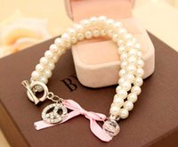 Wholesale Pearl Bracelet Peace Sign - 2017 new Bohemia wind Anti War Peace Sign Charm bracelet bracelet three string Pearl Ball Bracelet cute female models