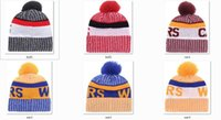 Wholesale Hot Hockey - New Beanies 2017 Hot Knit Baseketball Beanie Sport Knit Pom Pom Knit Hats Baseball Football Sports Beanies Hat Mix Match Order All Caps