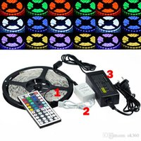5050 SMD LED Light Strip RGB 300 LED / 5m impermeabile telecomando IP65 12V + 44 chiave di IR + 12V 5A Alimentatore con EU / AU / US / UK Plug