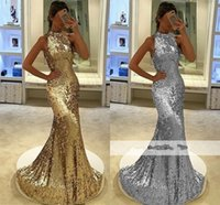 Wholesale Long Sequin Dresses Cheap Online - Sparkly Sequin Gold Mermaid Prom Dresses High Neck Sheath Formal Evening Dresses Wholesale Cheap Long Prom Gowns 2018 Online Sale