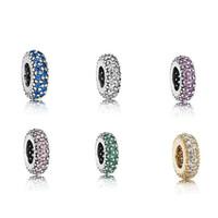 Wholesale Authentic Pandora Purple Charms - 30 pcs lot Authentic 925 Sterling Silver charms beads Fits European Pandora Charm Bracelets