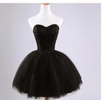 vestidos de bola de envío rápido al por mayor-Vestido de fiesta 2020 Nuevo vestido de dama de honor de encaje corto con cuentas negro moda elegante Vestidos de fiesta Envío rápido