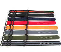 Wholesale watch strap 22mm nato - Wholesale- Wholesale 10PCS lot Heavy duty nylon straps 18mm 20mm 22mm 24mm Nylon Watch band NATO strap zulu strap watch strap ring buckle