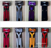 Wholesale Suspender Bow Tie - Wholesale-2015 NEW Arrival Suspender and Bow Tie Sets for Tuxedo Wedding Suit Free Shipping