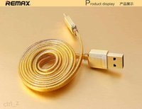 Remax Gold Color Micro Cabo USB Fast Charing Double Sides 100cm 3ft Flat Data Wire Remax Marca com caixa de varejo