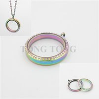 Wholesale 25mm Glass Floating Charm - 20mm 25mm 30mm 35mm Screw Top Rainbow 316L Stainless Steel Floating Charm Locket with Czech Crystals