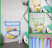 Wholesale Plastic Shower Organizer - Baby Kids Bath Toy Storage Suction Cup Net Bag Bathroom Shower Tidy Organizer Wholesale And Drop Shipping