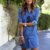 Wholesale Asymmetrical Shirts For Women - European Fashion 2016 Sexy Dress Summer Style Blue Shirt Dresses Casual Loose Clothes for Women Plus Size Long Sleeve vestidos