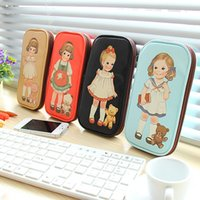 Wholesale Cases For Dolls - kawaii vintage cute doll clutch retro pencil bag kids pu leather large capacity stationery school pencil case for children girls